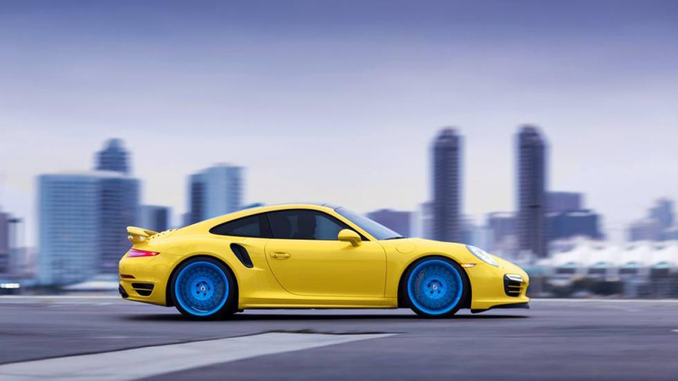 Porsche 911 Turbo HRE amarillo azul lateral