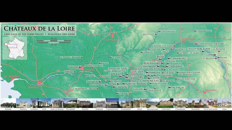 Mapa de la Ruta del Loira