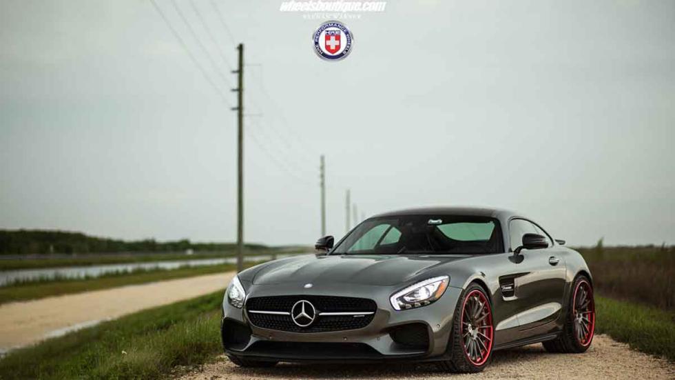 Mercedes AMG GT S con llantas HRE tres cuartos delanteros