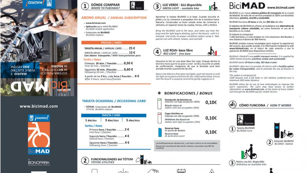 folleto informativo bicimad