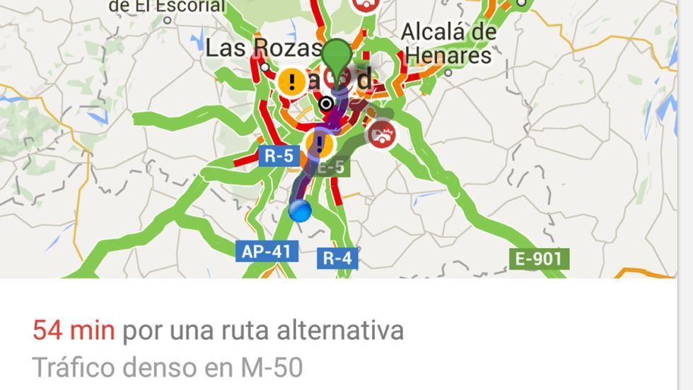 ruta alternativa por la M-50 para evitar el colapso