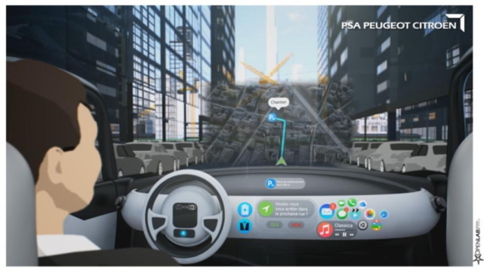 pantalla head-up coche autónomo PSA