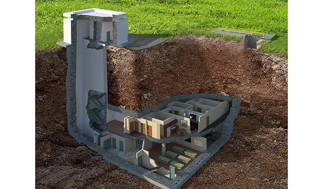 Búnker de hormigón transformado en mansión subterránea