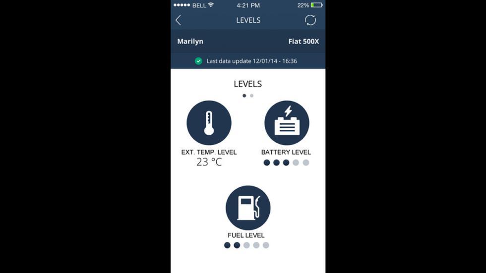 indicadores de la App Uconnect Live