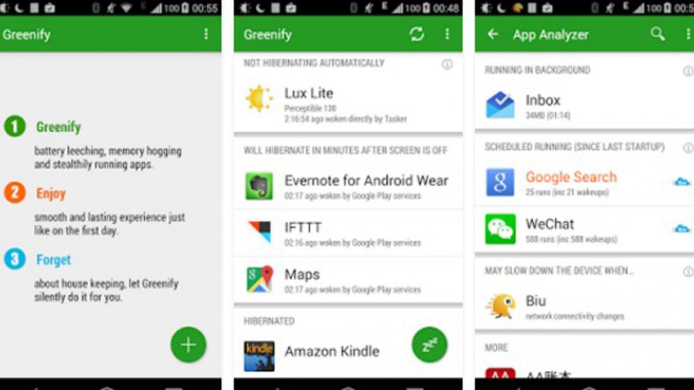 opciones app greenify
