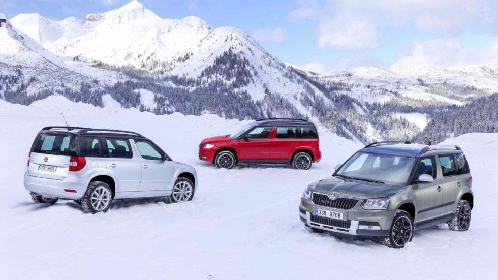 Todos los Skoda Yeti 4x4, sobre la nieve bávara