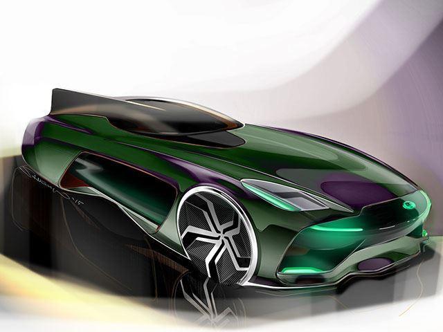 Boceto del futuro Jaguar tres cuartos delanteros