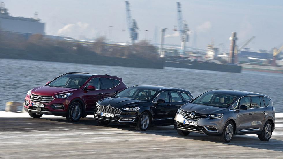 Comparativa: Ford Mondeo/Hyundai Santa Fe/ Renault Espace frontales