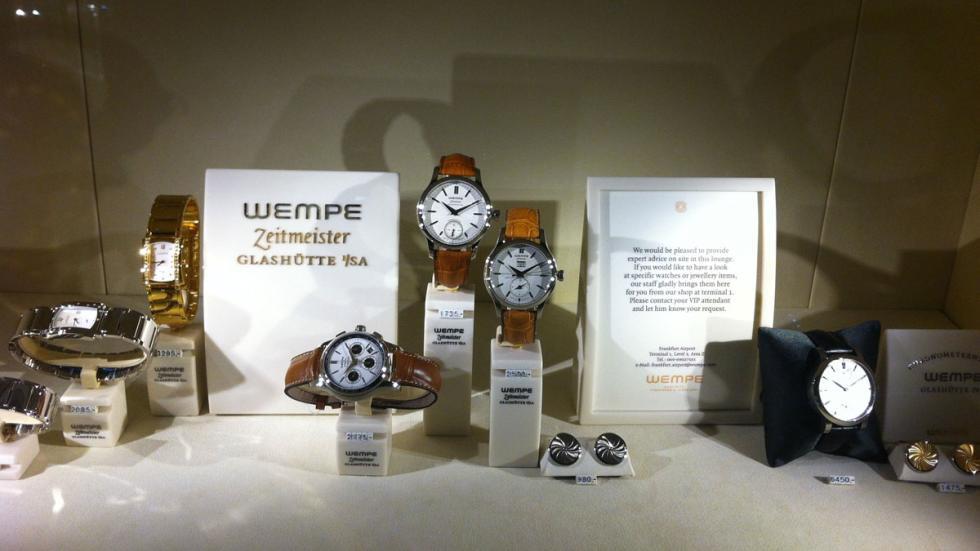 relojes a la venta en la terminal ejecutiva del aeropuerto de Fráncfort