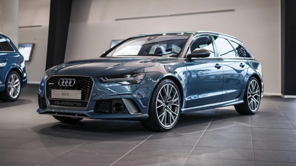 Audi RS6 Performance Polar Blue Metallic tres cuartos delanteros
