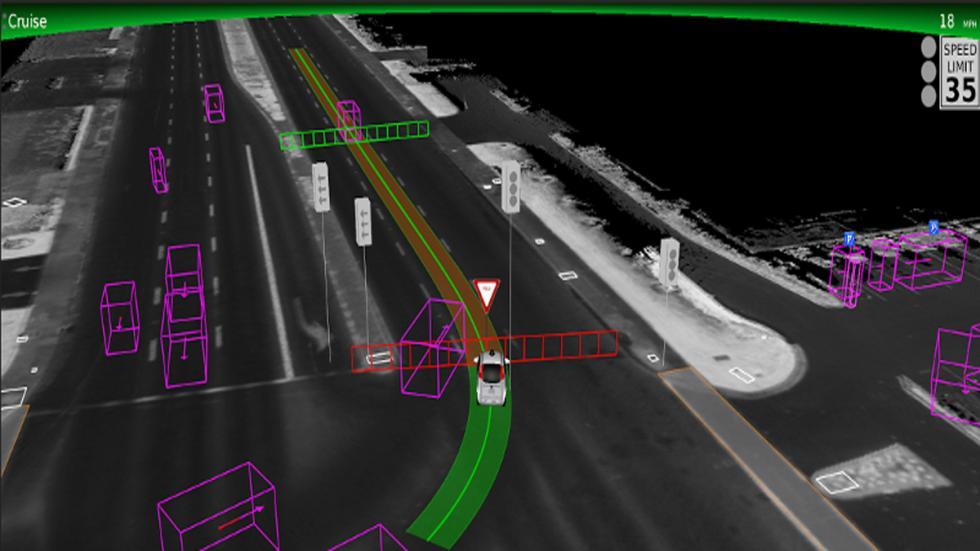 Así ve el coche autónomo de Google autopista