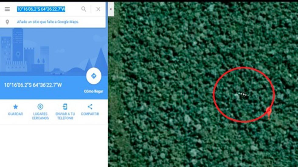 nave extraterrestre amazonas google maps coordenadas