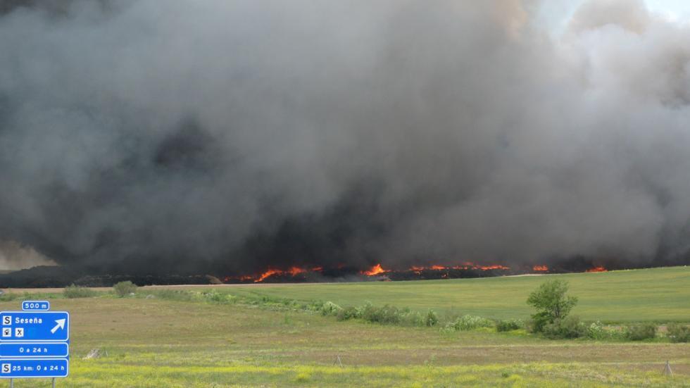 vista del incendio de seseña desde la R4
