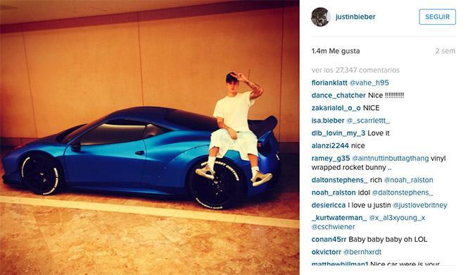 Justin Bieber Ferrari Instagram