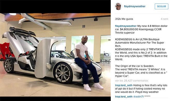 Mayweather Koenigsegg CCXR Instagram