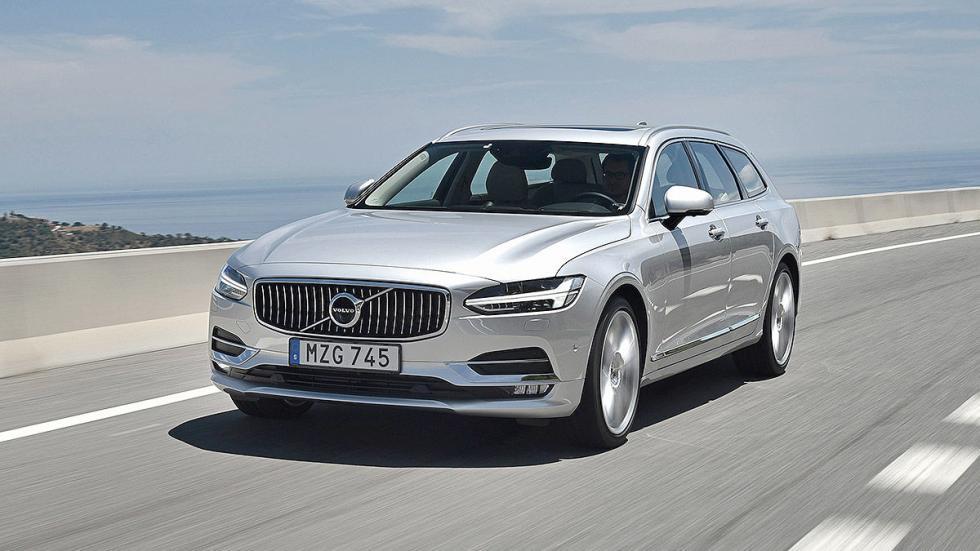 Prueba: Volvo V90 2016 lateral faros carretera