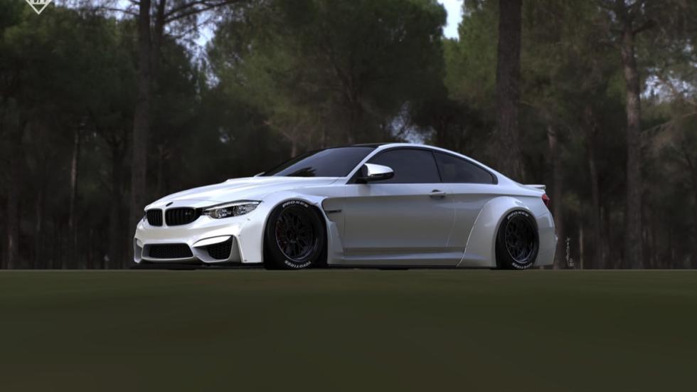 BMW M4 by Liberty Walk tres cuartos delanteros