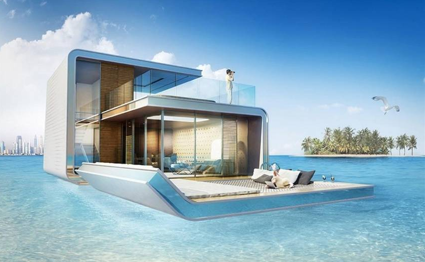 Casas flotantes de Dubai. Foto: THE FLOATING SEAHORSE TZAR EDITION.
