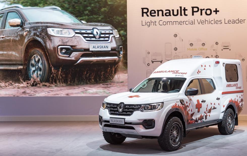 El Renault Alaskan ambulancia, en el stand del Salón de Hanover