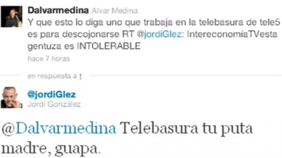 Jordi González acabó pidiendo disculpas por esta respuesta en Twitter.