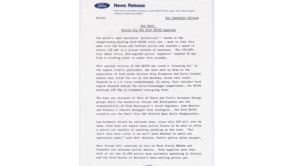 Ford RS200 nota de prensa