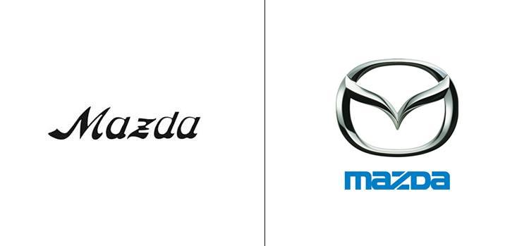 El antes y el después del logo de Mazda.