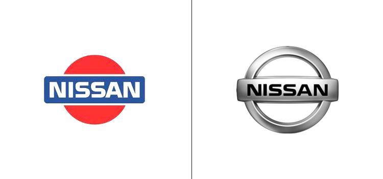 El antes y el después del logo de Nissan.