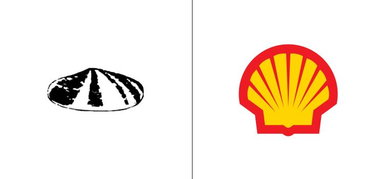 El antes y el después del logo de Shell.