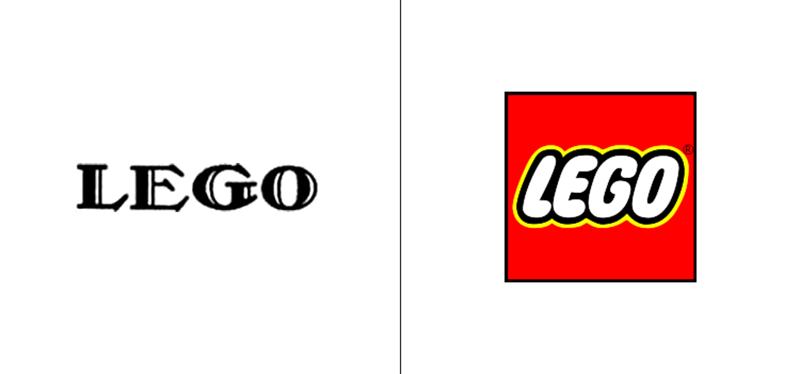 El antes y el después del logo de Lego.