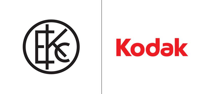 El antes y el después del logo de Kodak.