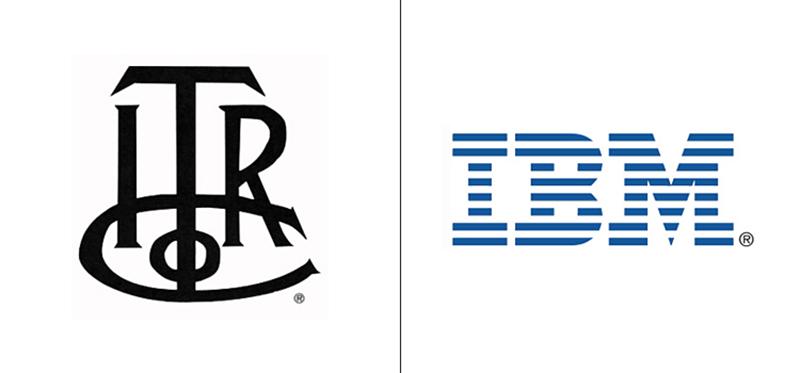 El antes y el después del logo de IBM.