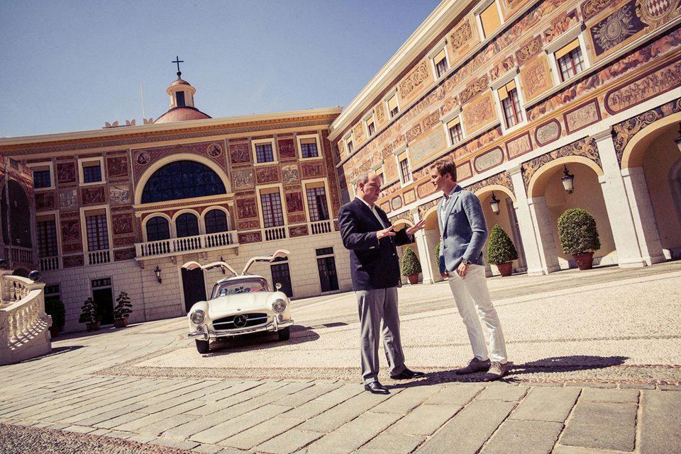 El Príncipe Alberto de Mónaco, Nico Rosberg y su Mercedes 300 SL Coupé del 55