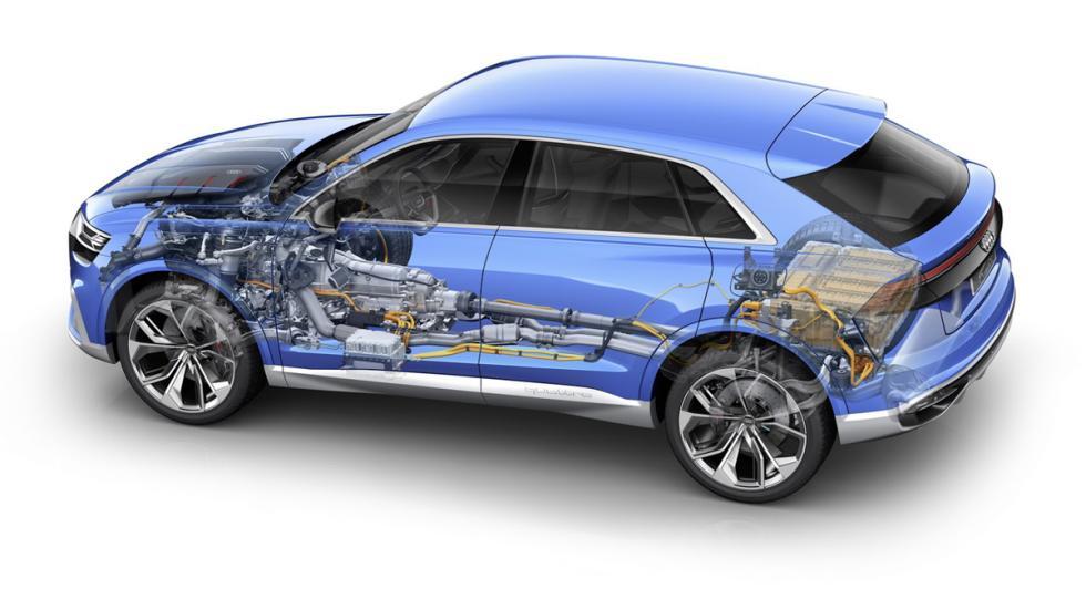 Audi Q8 Concept  esquema sistema propulsión trasera