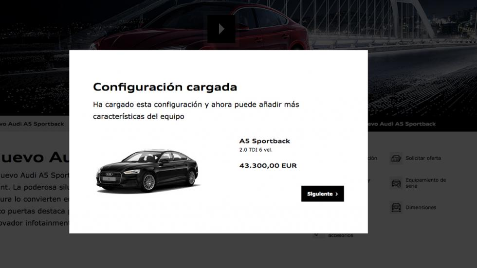 El configurador de Audi te mostrará el coche de entrada a gama; ahora podrás ele