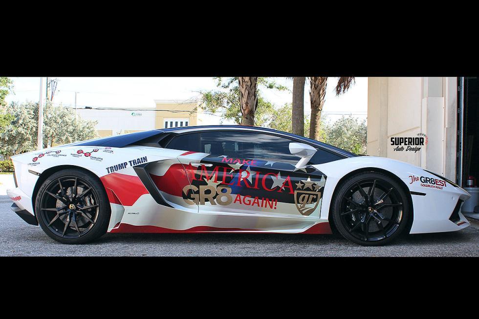 Este Lamborghini lleva a Trumo... ¡En el capó! Esta es la locura de un fan. ¡Hay