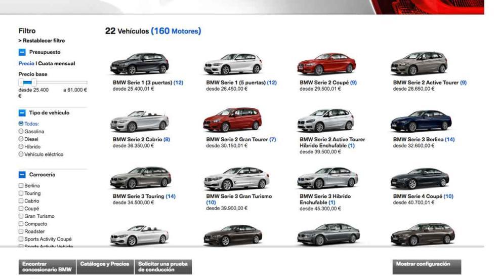 Podrás acotar la gama de BMW por precio, carrocería, motor...