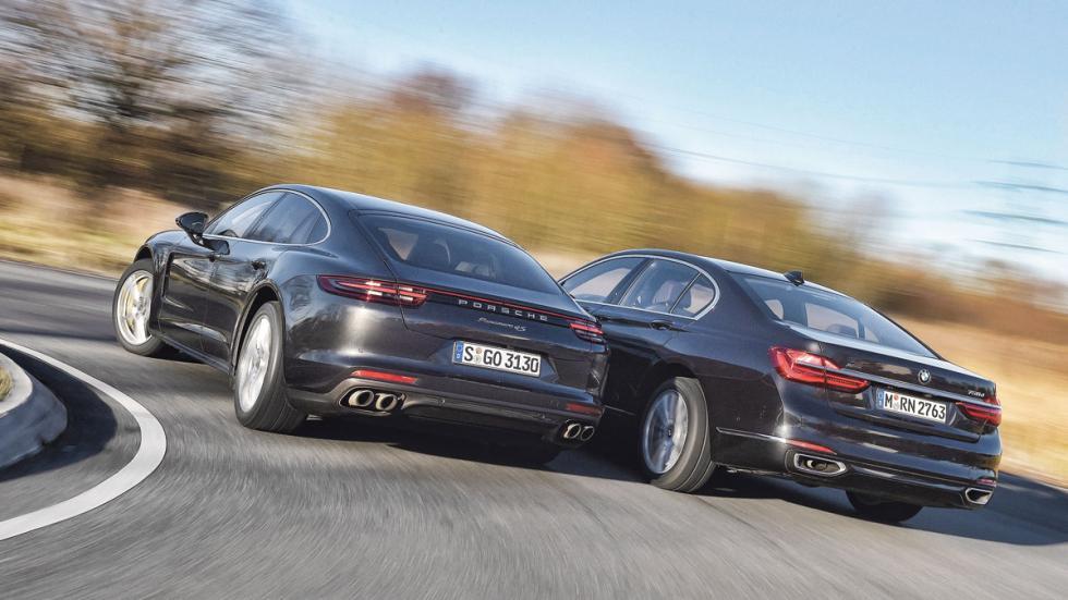 Porsche Panamera 4S Diesel vs BMW 750d xDrive trasera