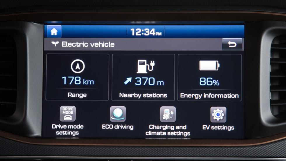 hyundai ioniq eléctrico 2017 pantalla autonomía
