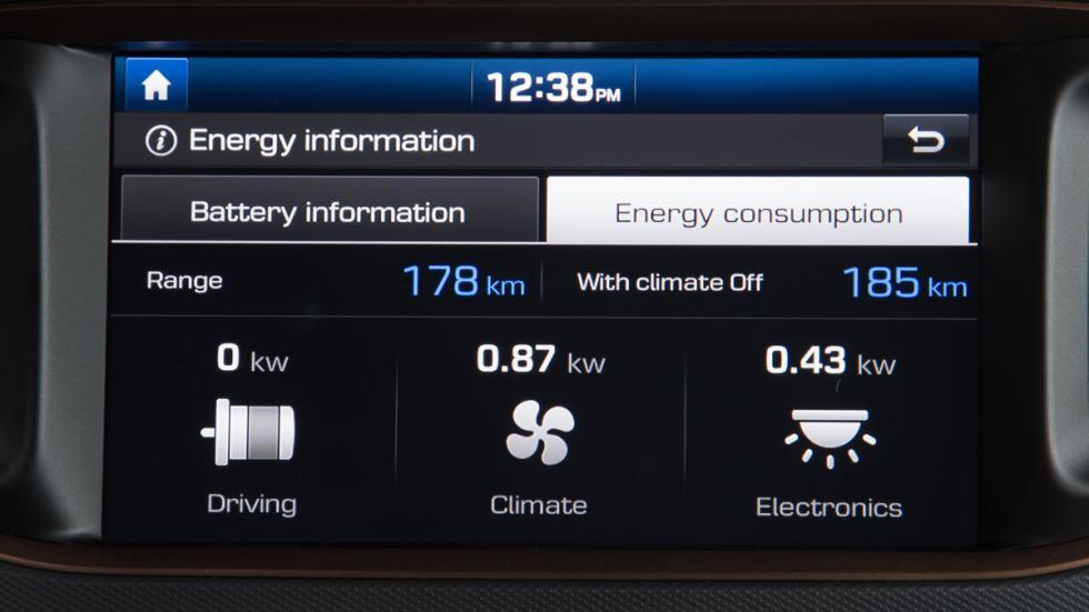 hyundai ioniq eléctrico 2017 pantalla consumo energía