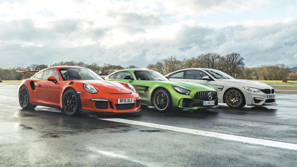 Chris Harris compara el Mercedes-AMG GT R contra el Porsche 911 GT3 RS y el BMW M4 GTS