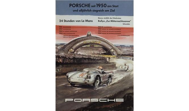 Cartel histórico de Porsche en Le Mans 1954