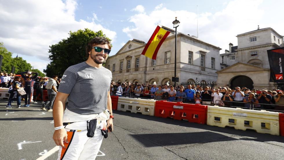 Fernando Alonso, en la exhibición de Londres