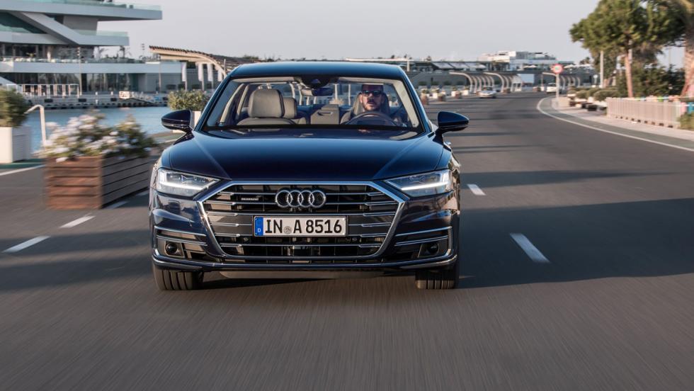 Prueba Audi A8 2017 (delantera)
