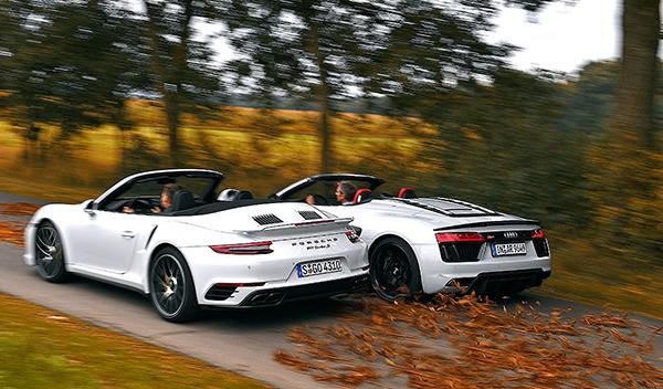 Audi R8 V10 Plus Spyder vs Porsche 911 Turbo S Cabrio