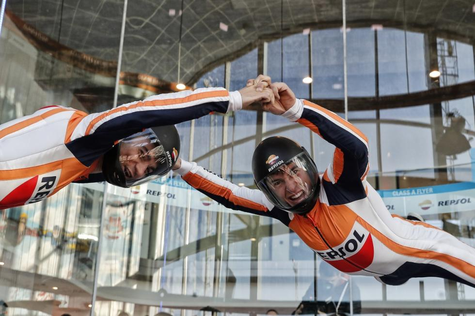 Márquez y Pedrosa en el túnel del viento