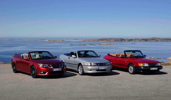 Las tres generaciones del Saab Cabrio de más moderno a más antiguo
