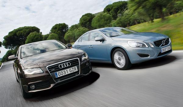Audi A4 2.0 TDI contra Volvo S60 D3 delantera