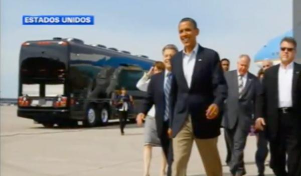 Obama estrena el 'Bus Force One'