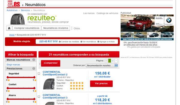 Nuevo comparador de neumáticos en AUTOBILD.ES