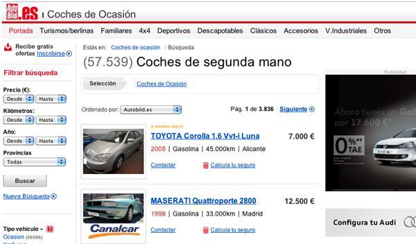 Nuevo buscador de coches de ocasión en AUTOBILD.ES